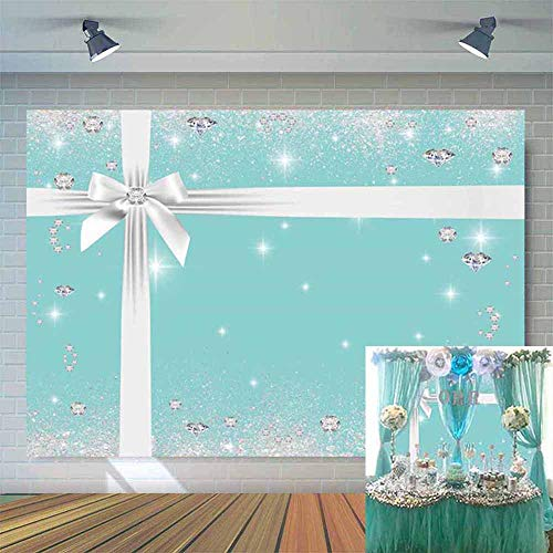 Allenjoy 7x5ft Diamonds Breakfast Co Blue Backdrop Bow-Knot Turquoise Sweet 16 Birthday Party Photography Background Bridal Shower Ladies Cake Table Banner Baby Girls Photobooth Props
