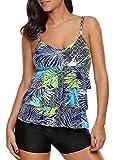 Urban Virgin Womens 2 Piece Bikini Spaghetti Strap Printed Padded Tank Top Tankini Swimsuits for Women Green XXL(US:16-18)