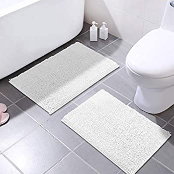 MAYSHINE 16x24 Inches Non-Slip Bathroom Rug Shag Shower Mat Machine-Washable Bath Mats with Water Absorbent Soft Microfibers, 2 Pack, White
