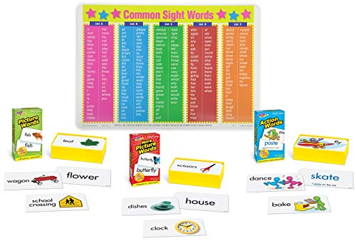- 288 Flashcards for Toddlers : Action Words, Picture Words, More Picture Words with Common Sight Words Placemat for Kids | Noun and Verb Vocabulary | Set of 4 Items
