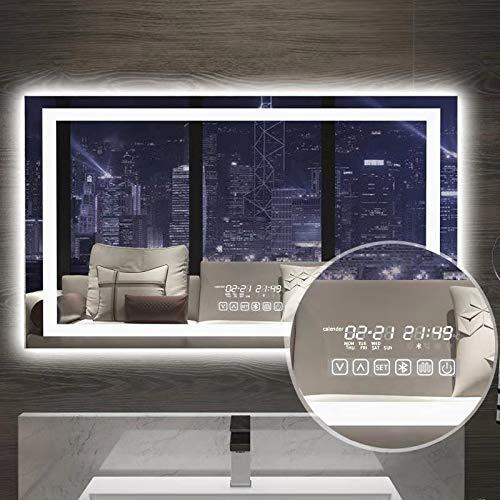 Gesipor LED Bathroom Mirror Lighted Wall Mounted Bathroom Smart Vanity Mirrors+Anti-Fog& Bluetooth - Clock Lighted With Bathroom Mirrors