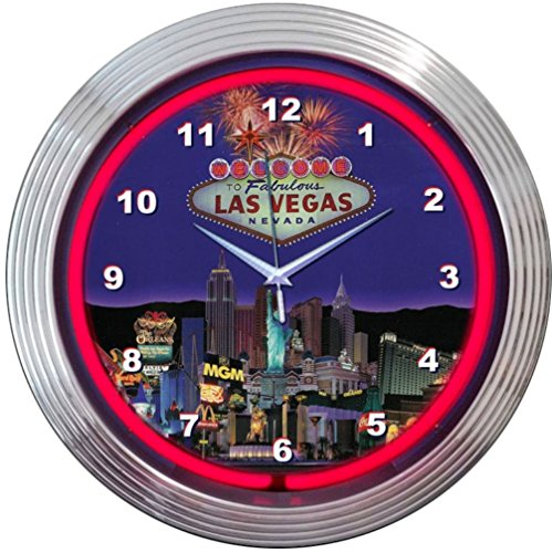 Neonetics Bar and Game Room Las Vegas Strip Neon Wall Clock, - Stores Las Outlet Vegas
