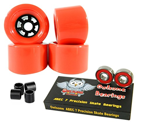 13c514d8c 90mm Wheels Longboard Flywheels + Owlsome ABEC 7 Precision Bearings (Red)