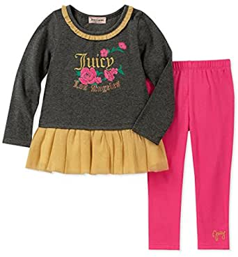 Juicy Couture Girls' Toddler 2 Pieces Tunic Legging Set, Gray/Gold/Pink, 2T