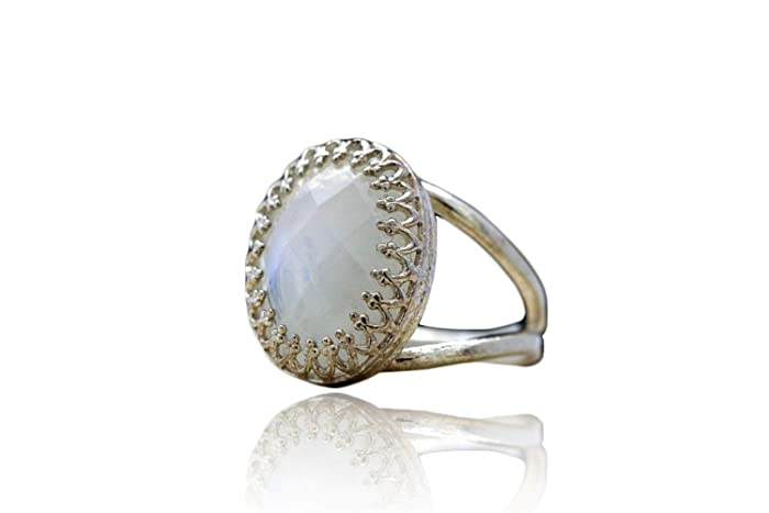 f561ac593d72c Amazon.com: Dreamy Rainbow Moonstone Ring by Anemone Jewelry ...