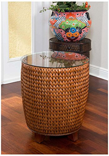 Alexander-Sheridan-Key-Largo-Round-End-Table-in-Sienna-Finish-with-Glass