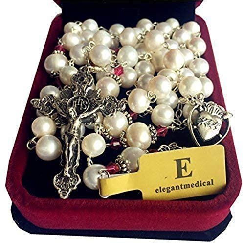 (elegantmedical 8-9mm Natural Real Pearl Beads Catholic Sterling Silver Rosary NECKLAC Cross)