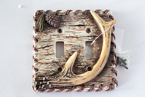 Pinecone Double Outlet - Rustic Deer Antler Switch Plate Covers Electric Outlet Birch Wood Pine Cone Cabin Decor (Double Switch)