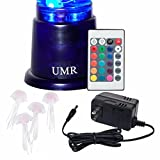 "UMR Jellyfish Lamp Aquarium Mood Light w/ Large 14"" Cylinder Tank, 4 Fake Jelly Fish, & 20 LED Color Remote is Perfect Night Light, Desktop Art Decor, or Electric Lava Lamp for Kids"