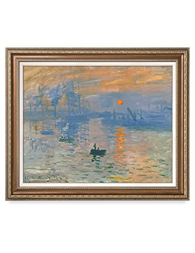 DecorArts - Impression Sunrise, Claude Monet Classic Art. Giclee Prints Framed Art for Wall Decor. Framed size: 35x29