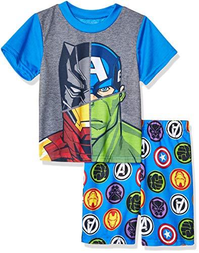 Marvel Boys' Little Avengers 2-Piece Pajama Set, Blue,