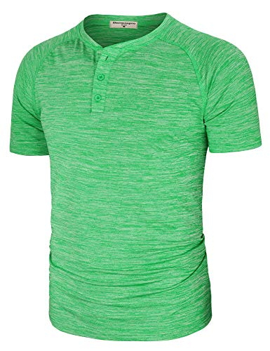 - Derminpro Men's Henley Neck Short Sleeve Solid Color Casual Active T-Shirt Green X-Large