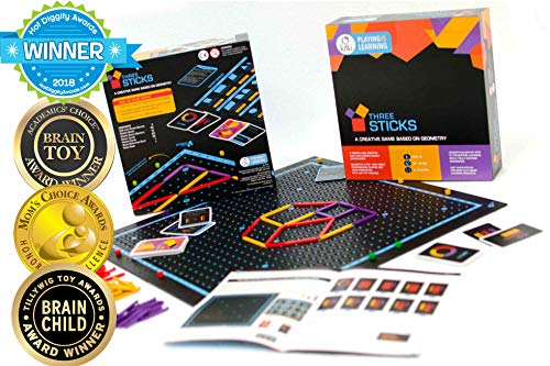 Kitki Three Sticks Math Game Puzzles for Kids Educational STEM Toys. Gifts for Boys & Girls of Ages 8 & Up. Improves Geometry, Logical Thinking & Creativity. by Kitki