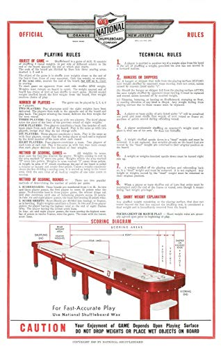 Zieglerworld Restored National Shuffleboard Table Rules and Regulation Poster - Set of Two