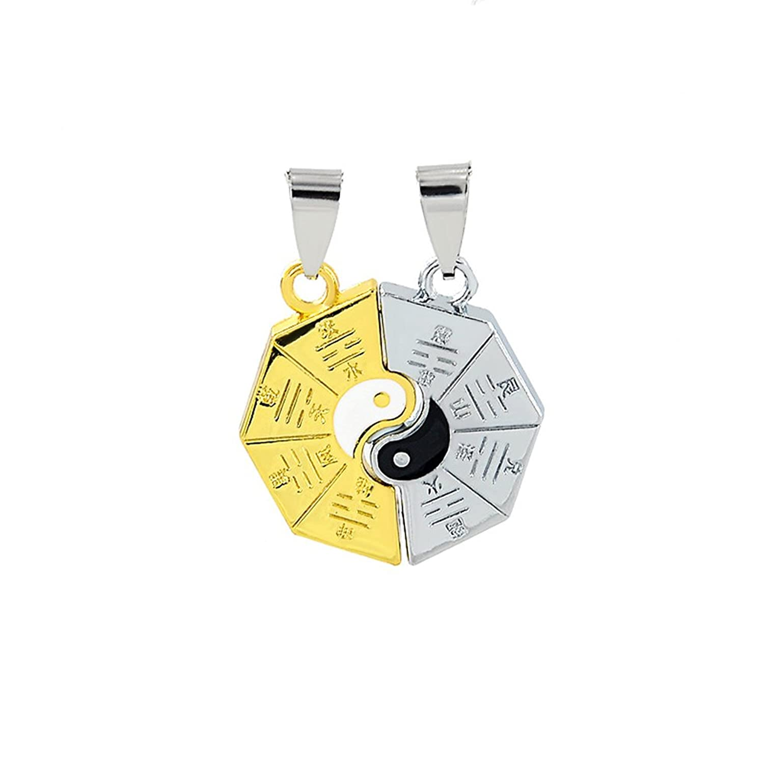 1 Pair Tai Chi Ying Yang Heart Pendant Necklace For Men Women Couple With Chains Jewelry Gift