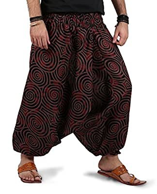 THS Mens Womens Boho Hippie Baggy Cotton Harem Pants with Pockets- Spiral Design