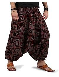 THE HAREM STUDIO Mens Womens Boho Hippie Baggy Cotton Harem Pants with Pockets - Spiral Design
