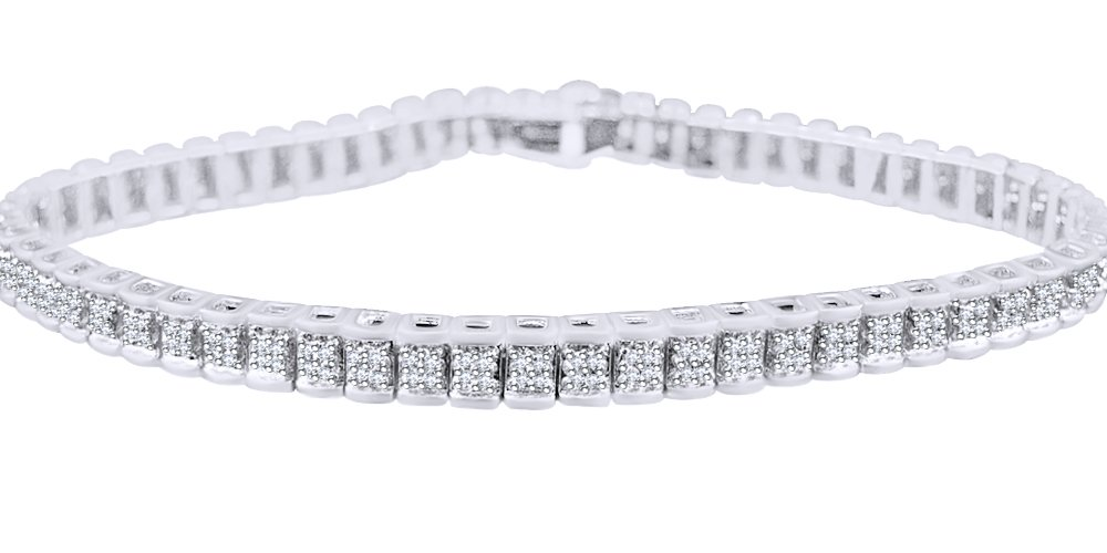 Railroad Bracelet In 14k White Gold Over Sterling Silver 0.75 CT Round Cut White Natural Diamond 8.5''