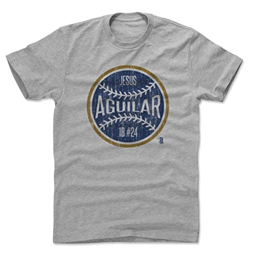 500 LEVEL Jesus Aguilar Cotton Shirt X-Large Heather Gray - Milwaukee Baseball Men's Apparel - Jesus Aguilar Milwaukee Ball B