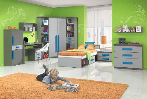 Kinderzimmer Jugenzimmer Play 01(10tlg) in der Farbe Anthrazit/Grau ...