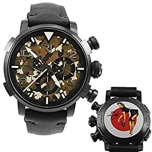 Romain Jerome Pinup DNA Black WWII Lily Maid Chronograph Automatic Men's Watch RJ.P.CH.002.01