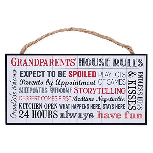 P. GRAHAM DUNN Grandparents House Rules Wooden Sign with Jute Rope ()