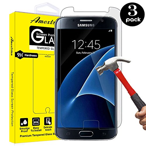 [3 - Pack] Compatible Samsung Galaxy S7 Tempered Glass Screen Protector, Amextrian 9H Hardness,Bubble Free [Ultra-Clear] [Scratch Proof] [Case Friendly] Screen Protector Compatible Galaxy S7 (Best Tempered Glass Screen Protector S7 Edge)