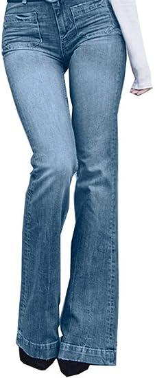 ファッション女性ソリッドジーンズスリムな薄いフレアジーンズ