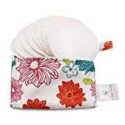 Baby Pavilion Washable Organic Bamboo Nursing Pads with Flower Laundry Bag, Reusable, Ultra Soft and Super Absorbent for the Ultimate Luxury Breast Pad, 4 Piece