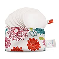Baby Pavilion Washable Organic Bamboo Nursing Pads with Flower Laundry Bag, R...