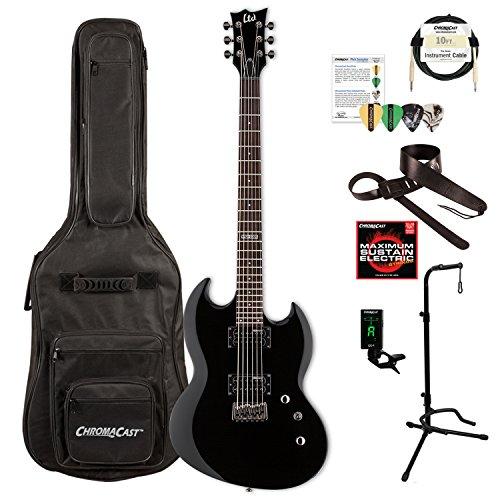 ESP LVIPER200BBLK-KIT-1 Viper Series VIPER-200B Electric Baritone Guitar, Black Esp Viper Baritone