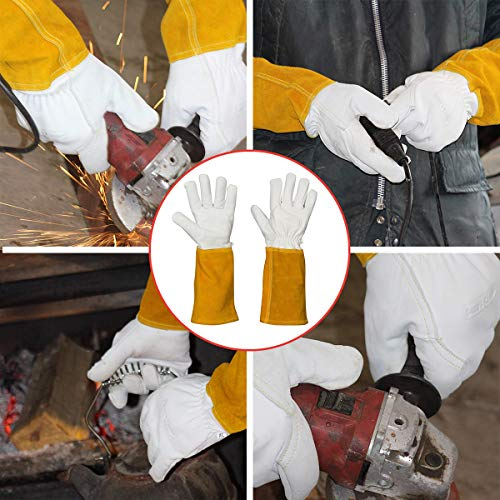 MIG TIG Welding Gloves | 16'' Soft Leather | Kevlar Stitching & Hand Lining Weld Glove (Medium) by Suse's Kinder (Image #5)