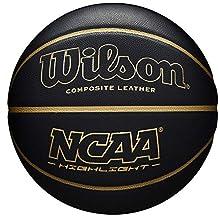 Wilson WTB067519XB07 Pelota de Baloncesto NCAA Highlight Cuero sintético Interior y Exterior, Unisex-Adult, Negro/Dorado, 7