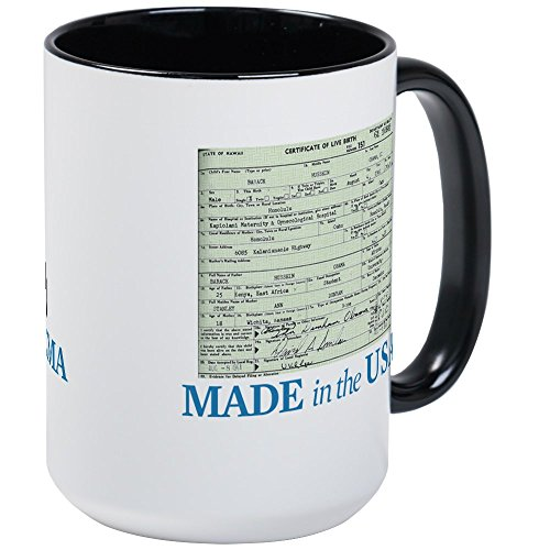 CafePress Barack Obama Made In The USA Birth Certificate Lar Coffee Mug, Large 15 oz. White Coffee Cup
