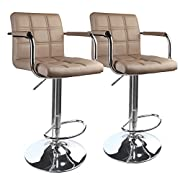 Leopard Modern Square Back Adjustable Bar Stools with armrest,Set of 2,Khaki