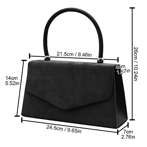 Bag Suede Prom Tote Women Party Bag Velvet Lovely Purse Wocharm Black Girl Ladies Perfect Wedding Envelope Clutch YwPIxT6Tq