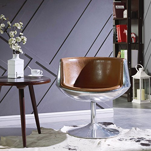 Leather Heights Pacific Chair (New Pacific Direct Conan PU Leather Swivel Chair,Aluminum Legs,Distressed Caramel)