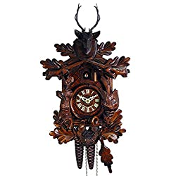 DV-Marketing, original Black Forest cuckoo clocks Original Mechanical Cuckoo-Clock 1-Day (Certified) Deer-Head, Hunter/Hunting Pendulum Bird Clocks