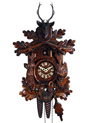 1 Bird Cuckoo Clock Day - Original Mechanical Cuckoo-Clock 1-Day (Certified) Deer-Head, Hunter/Hunting Pendulum Bird Clocks