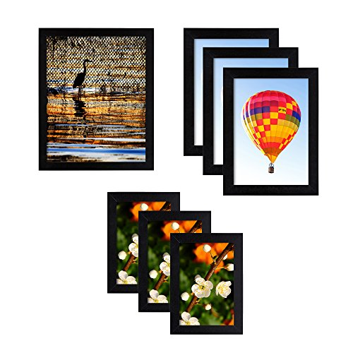 Structural Industries 7-Pack Picture Frames to Display Photos, Easy Wall Mount, Black Wood, Multiple Sizes