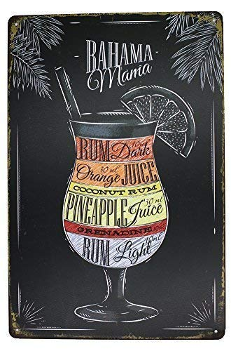 Bahama Mama Rum Orange Pineapple Juice, Drink Meatl Sign Aluminum Metal Tin Sign, Vintage Plaque Pub Bar Dining Room Home Wall Decor