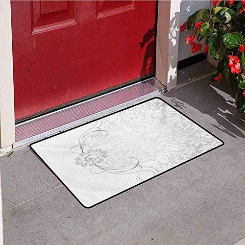 (Jinguizi Grey Universal Door mat Lace Inspired Flourish Motifs Background with Bridal Flower Border Wedding Pattern Door mat Floor Decoration W35.4 x L47.2 Inch Grey White)
