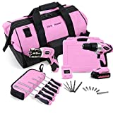 "Pink Power 18V NiCad Cordless Drill Driver & Electric Screwdriver Combo Kit with 20"" Tool Bag"