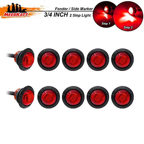 Meerkatt (Pack of 10) 3/4 Inch Round Red 2835 LED Side Marker Lights with Black Grommet Indicator Clearance Stop Parking Lamp for Pickup Bus Truck SUV Trailer Van RV Camper ()
