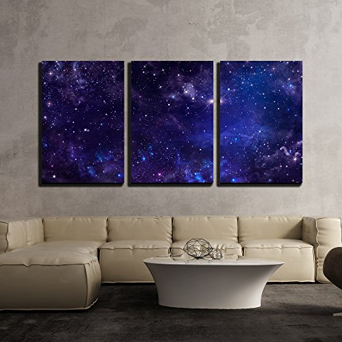 Starry Night Sky Deep Outer Space x3 Panels