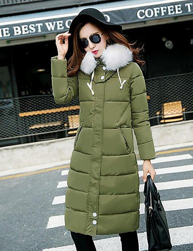 YRF Black Long chic Women's Green 2XL Solid Padded Sleeve Coat Hooded Street Blue ARMYGREEN qpprt