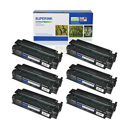 (SuperInk 6 Pack High Yield Compatible Toner Cartridge Replacement for HP 13X Q2613X Black use in Laserjet 1300 1300n 1300xi Printer (4000 Pages Yield))