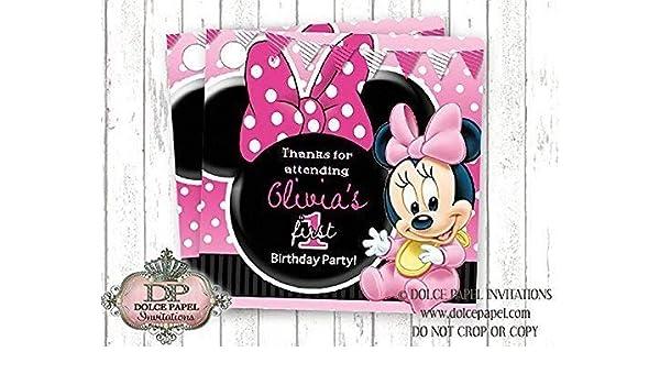 "Pink Yellow Polka Dot Disney Baby Minnie #1 1st First Birthday Hair Bow 4 1//2/"""