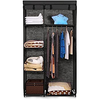 IKAYAA Portable Fabric Closet Cabinet Roll Up Clothing Storage Organizer  Clothes Hanger Rack with 5 Storage