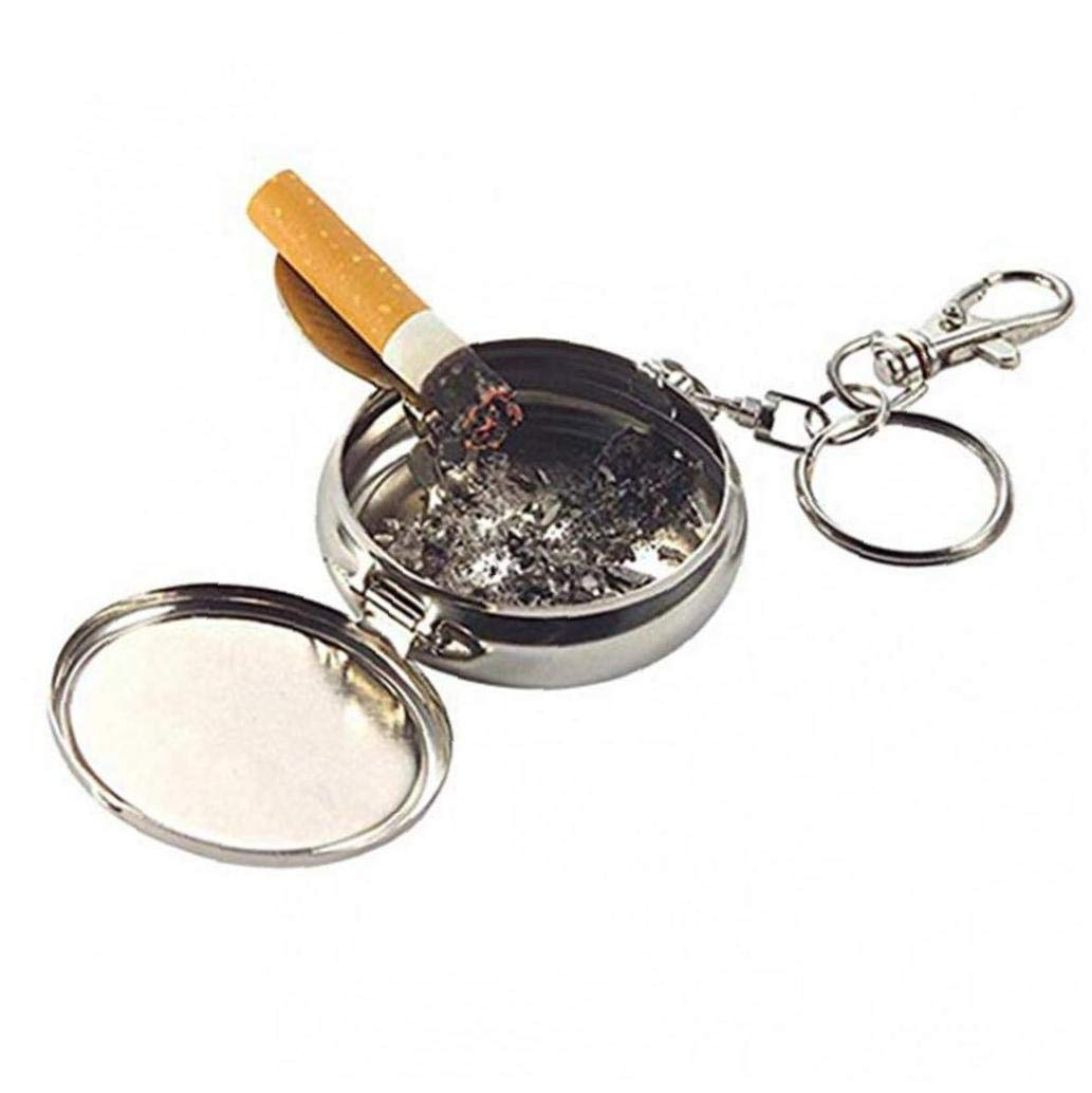 CULER Mini Cigarrillo al Aire Libre Llavero Redondo port/átil de Humo Cenicero Cenicero de Bolsillo de la aleaci/ón Llavero de la Moda Color al Azar